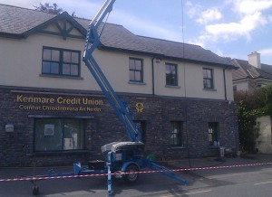 Commercial painters with cherry picker